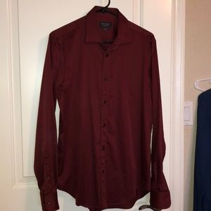 Zara Man Slim Fit Maroon Dress Shirt - Medium